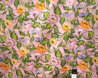 CLEARANCE Donna Dewberry DD20 Daisies Daisy Vine Pink Cotton Fabric 1 Yd