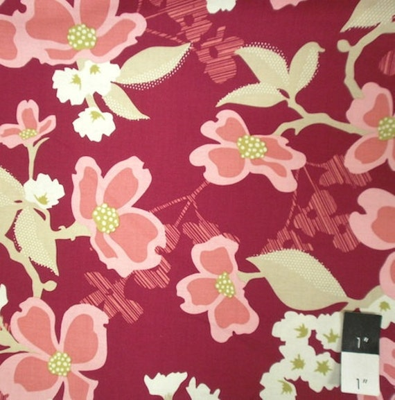 Joel Dewberry JD31 Modern Meadow Dogwood Bloom Berry Cotton Fabric 1 Yd