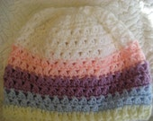 Womans Hat White Pink Purple Blue Pastel Hat Beanie Cap