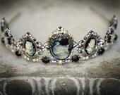 Drusilla tiara - Gothic headpiece, marcasite, garnet, cameo, pearls, rhinestones