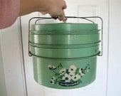 1930s Jadeite Green Triple Decker Tin Pie Carrier.
