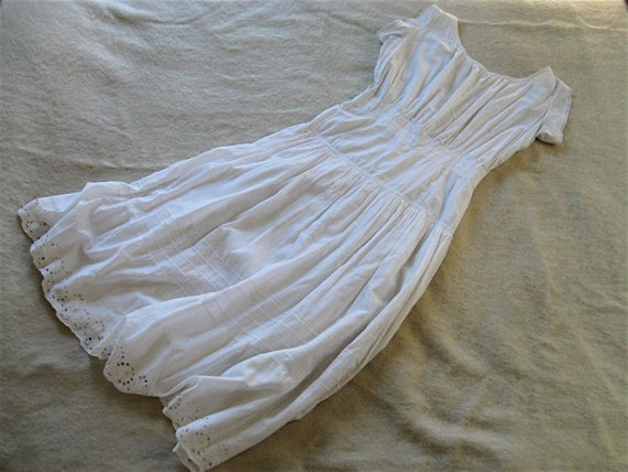 Antique Victorian White Cotton Corset Cover Dress.