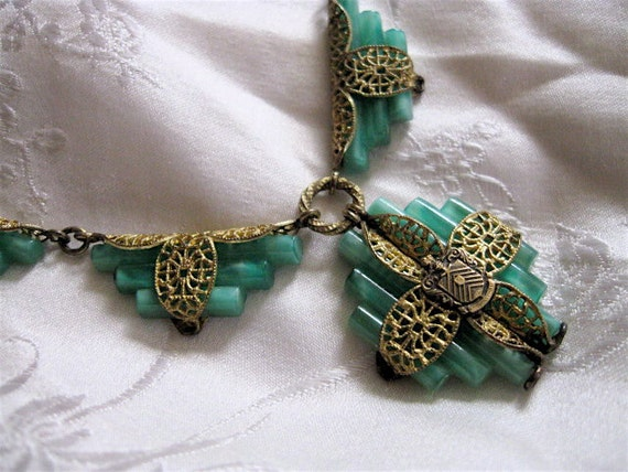 RESERVED 1920s Deco Jade Filigree Necklace.