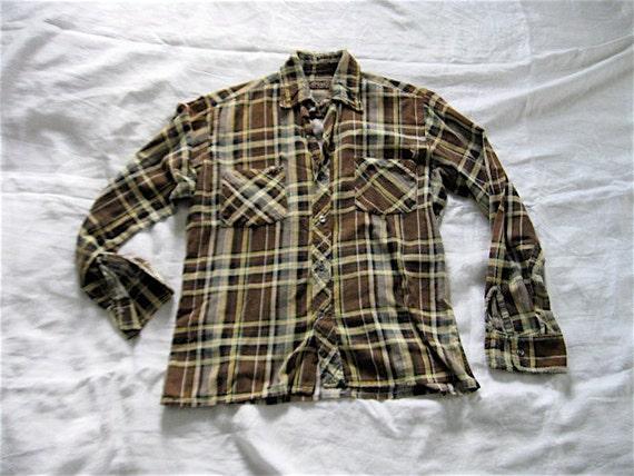 1970s Worn Thin Unisex Plaid Cotton Work Shirt.