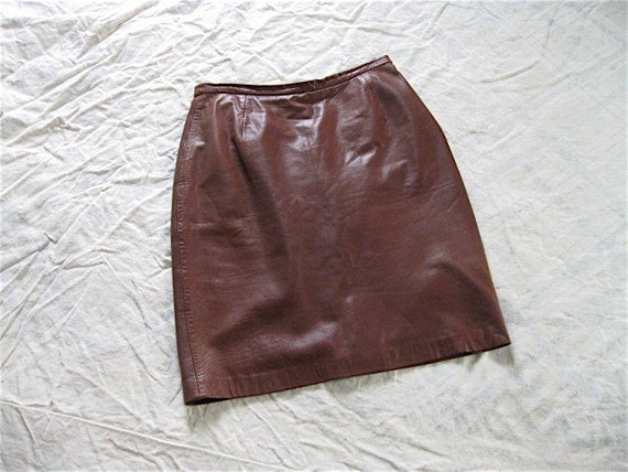Vintage Burnt Caramel Supple Leather Skirt.