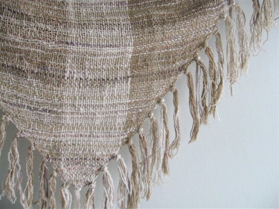 1970s Hand Woven Natural Fibers Shawl.