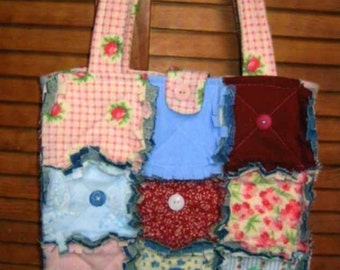 Rag Quilted, Tote E Pattern, PDF, Digital Downloadable Pattern