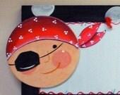 Personalized Pirate Sign 5x16 Children's Art Room Decor