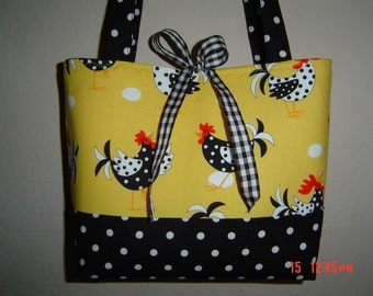 Yellow Spring Chicken Rooster Handbag purse