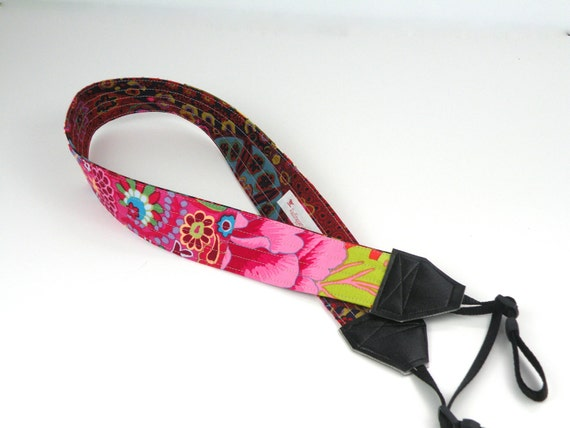 Bright Patchwork Camera Strap in Pinks