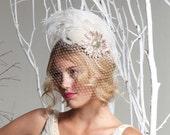Weddings, Ivory Birdcage Veil, Feather Fascinator, Bridal Head Piece, Hair Accessory, Hat, Pink, Swarovski Crystal Flower, Batcakes Couture