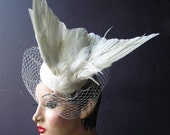 Julia of the Spirits  an ivory white taxidermy bridal feather hat with birdcage veil, Bridal Fascinator, High Fashion, Batcakes Couture
