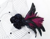Black Birdcage Veil, Feather Fascinator, Black Rose, Satin, Chenille Dot, Iridescent Green, Victorian, Gothic - Batcakes Couture