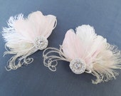 Pale Pink Bridal Fascinators, Bridesmaid, Set of 2, Swarovski Crystal, Feather Head Piece, Champagne, Ivory White, Peacock Feathers