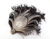 Ivory White Peacock Feather Fascinator, Hair Accessory, Black, Bridesmaid, Weddings, Hair Clip, Feather Head Piece, Batcakes Couture