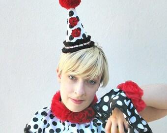 Clown Costume, Circus, Cuffs, Burlesque, Wrist Cuffs,  Satin, Polka Dot,  Black, White, Red, Rose, Batcakes Couture