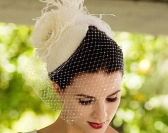 Vintage Inspired Wedding Veil, Blusher Length, Bridal Hair Accessory, Silk Flower Headpiece, Ivory, White, Black, Blush Pink Available