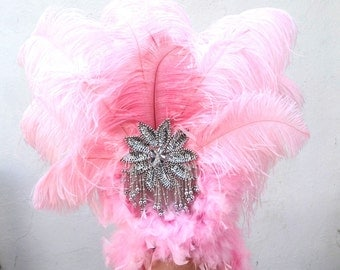 Pink Feather Headdress, Burlesque Showgirl Headpiece, Carnivale Costume, Viva Las Vegas, Belly Dance Accessory, Silver Hair Accessory