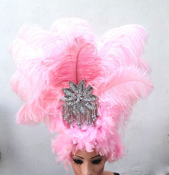 Pink Feather Headdress, Burlesque Showgirl Headpiece, Carnivale Costume, Viva Las Vegas, Belly Dance Accessory, Silver Hair Accessory