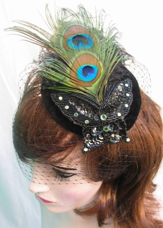 Butterfly Peacock and Ostrich Feather Black Cocktail Hat with Veil Victorian