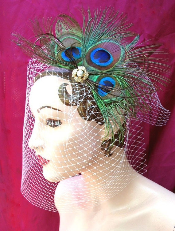 Dramatic Pearl and Peacock Victorian Fascinator Hair Clip with Removeable Veil - Custom Order