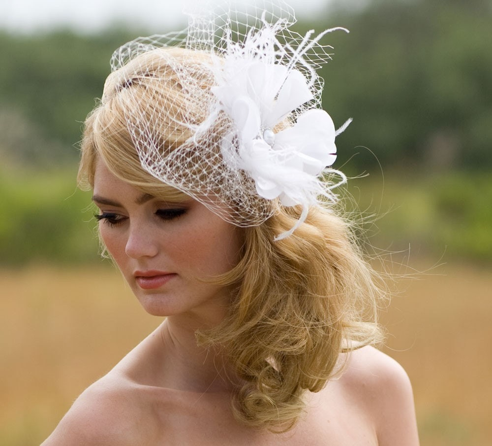 Floral Hair Accessory Ivory Bridal Veil Feather Fascinator