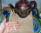Good Fortune Talisman Cowrie Shell and Tribal African Beads Ecofriendly Vintage Skeleton Key Hemp Keychain