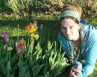 Earth and Sky - Organic Cotton Crocheted Gypsy Hair Wrap - Dreadlock Hippie Headband - Adjustable - Fringe Ties