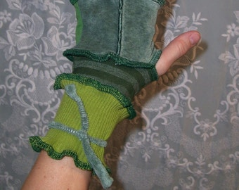 Moss Covered Forest - Ecofriendly Patchwork Gypsy Fingerless Gloves - Cuffs -  Handwarmers With Thumbholes and Ties