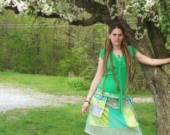Blossom - Gypsy Ecofriendly Patchwork Hippie Mini Wrap Skirt with Utility Belt Pocket - Hip Bag - Embroidered Eco Silk and Cotton