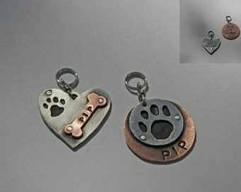 Heart And Bone Dog Tag OR Paw Print ID Tag-Copper, Nickel Silver, Multi Layered-Collar Pet Tag-Unique Dog Tag-Custom Pet Id Tag