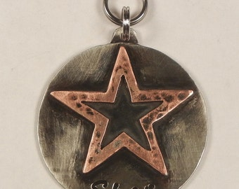 Unique STAR Dog Pet Tag ID-Handcrafted Copper And Nickel-Custom Stamped Personalized Dog Name Tag-Hammered Star Pet Tag-Star Id Tag