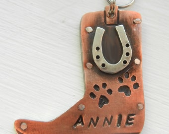 BOOT HORSESHOE Pet Dog ID Tag-Custom Stamped Dog Tag-Western Dog Tag-Cowboy Dog Id Tag- Cowgirl Dog Tag-Unique Dog Tag-Unique Pet Tag
