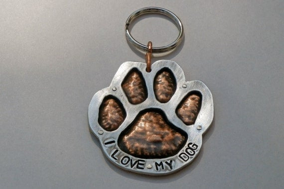 PAW PRINT KEYCHAIN-Unique Pet Related Keychain-Embossed Copper Aluminum Dog Tag-I Love My Dog Keychain-Pet Identification Keychain