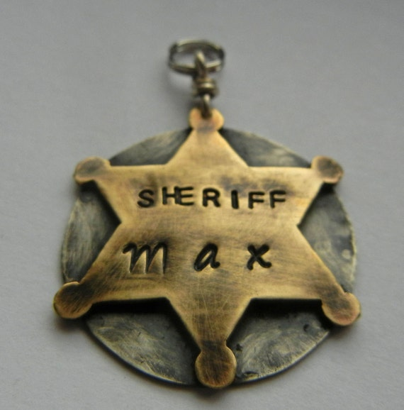 Unique Pet Id Tag-SHERIFF POLICE BADGE Dog Pet Id Tag-Custom Stamped Dog Collar Name Tag-Law Enforcement Pet Tag-Personalized Dog Id-Pet Tag