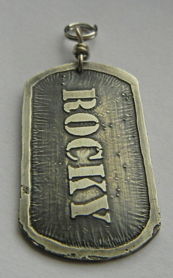 Reserved for Caroline: Brass etched Military style DOG TAG for dog or pet id.