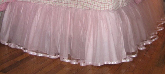 18 Or 20 Inch Drop Full Size Satin Ribbon Tulle BEDSKIRT - Light Pink, Paris Pink, and Sweetest Pink
