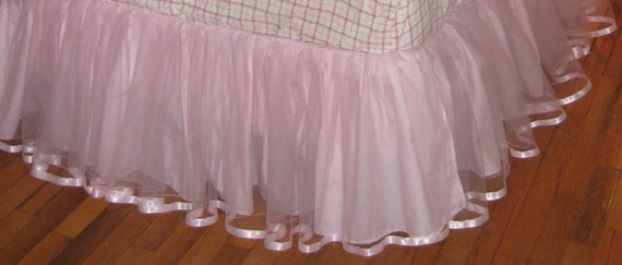 18 inch drop TWIN Size Tulle Bedskirt in Light Pink