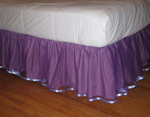 Ready To Ship - TWIN Size Tulle bedskirt in Lavender -Orchid