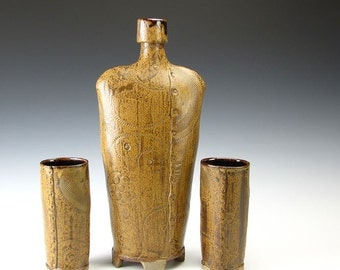 Stoneware Bottle and Goblets