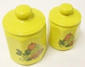 2 vintage canisters - yellow - fruit - metal
