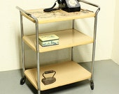 Vintage metal cart - serving cart - kitchen cart - Cosco - tan - wheels - 3 shelf - removable top tray - RESERVED FOR blackcatgirl2012