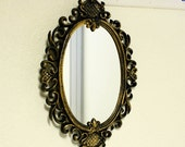 Vintage wall mirror - wall hanging mirror - black and gold - ornate