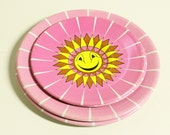 vintage tin toy saucers plates - 4 - childrens - pink and yellow sun - instant collection