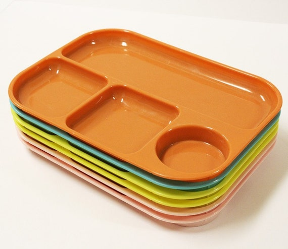 Vintage Trays Plastic Picnic Set Divided Food By Oldcottonwood