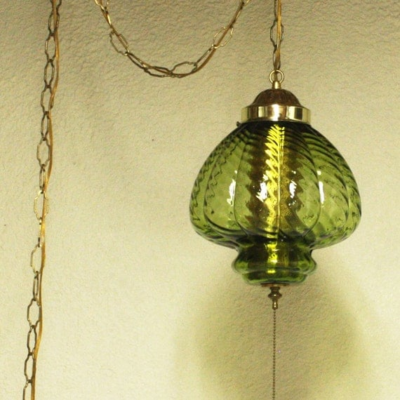 Hanging Lamp With Pull Chain: Vintage Hanging Light Hanging Lamp Green Glass By