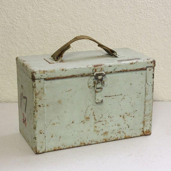 Vintage metal box - ammo box - utility box - aqua - latch - handle - military