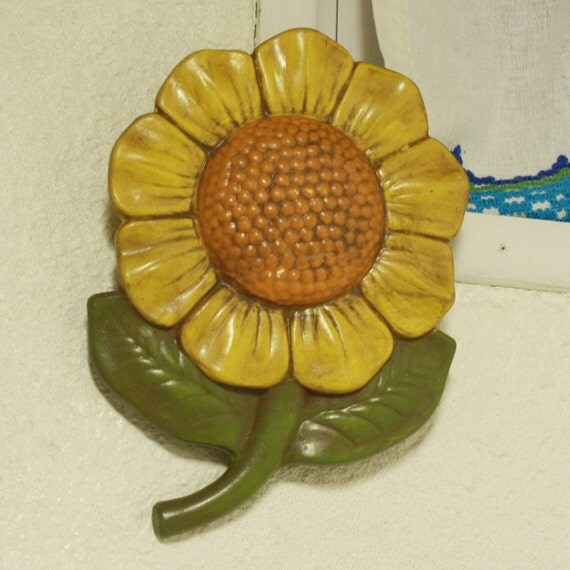 Vintage Sunflower Wall Decor : Vintage wall decor sunflower ceramic pottery by oldcottonwood