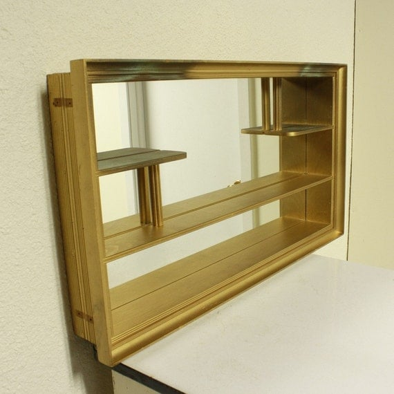 Vintage Shadow Box Mirrored Shelves Wall By Oldcottonwood