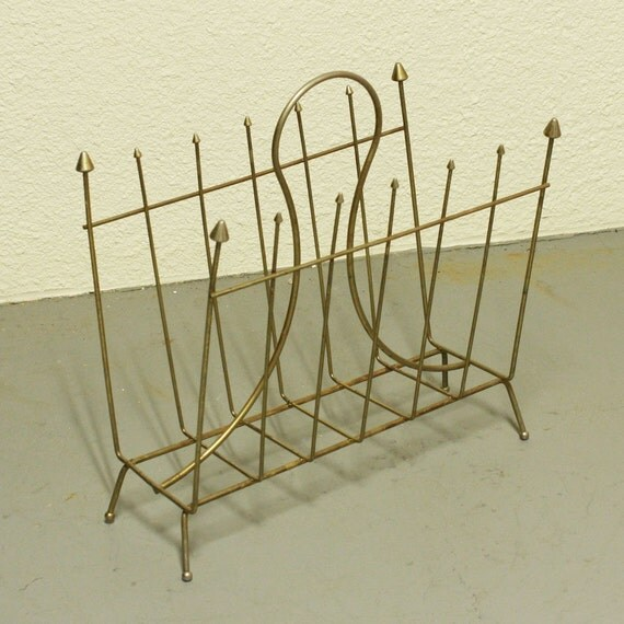 Vintage magazine rack - metal - gold tone - retro